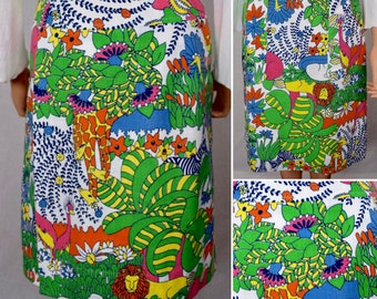 Vintage 1960's 70's Women's Cartoon Zoo Jungle AniMaLs Elephant Tiger Hippo Turtle Novelty HiPPiE Mod PoP ArT Golf Skirt Size M 27 28 W