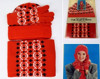 NOS Vintage 1970's Women's Hat Scarf & Gloves Set Knit Red Black White Winter Ski Hippie Boho Syle NIB Retro