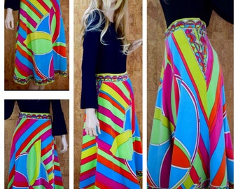 Vintage 1960's | 70's EMILIO PUCCI Psychedelic Mod Hippie Velvet COUTURE Skirt Size 14 M 28W