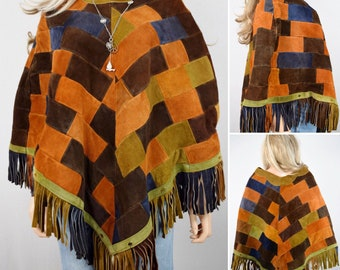 Vintage 1960's 70's Women's Patchwork Suede Leather HiPPiE BoHo Poncho Fringed Woodstock Festival CAPE