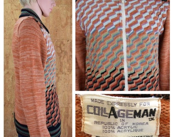 Vintage 1970's Men's Collageman Space Dyed Striped Colorful Zippered Cardigan Hippie Hipster Knit Sweater Size M