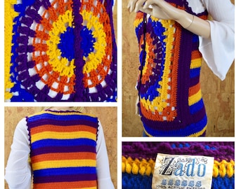 Vintage 1970's Women's ZADO Striped HiPPiE BoHo Crocheted Woodstock Mandala Sweater Vest Size M L