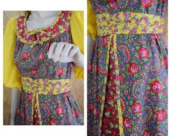 Vintage 1970's JODY T of California Red & Yellow Paisley Rose Prairie Hippie Boho Midi Dress Size Size S