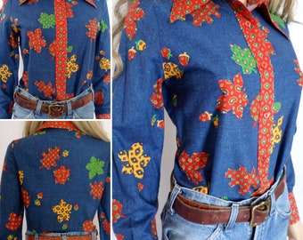 Vintage 1960's 70's Women's ReTrO Paisley LEAF & ACORN Novelty HiPPiE HiPsTeR Western Shirt M