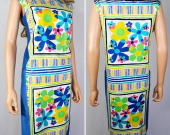 Vintage 1960's Andrade Daisy FLoWeR PoWeR Striped HiPPiE HaWaiiaN Beach Pool Cover Up Dress Size M