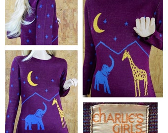 Vintage 1970's Women's STAR Moon Elephant Giraffe Zoo Animal Novelty Hippie Hipster Whimsical Sweater Size M