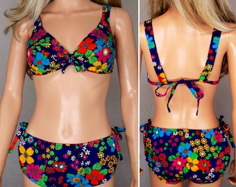 Deadstock Vintage 1960's PsYcHeDeLiC MoD HIPPIE NeOn Barkcloth BiKiNi SWiMSuiT Size M L NWT