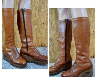 Sz 7.5 - Vintage 1970's Rosita TALL Brown Leather Wedged Gummy Rubber Platform Soled Hippie Boho Boots Size 7 1/2