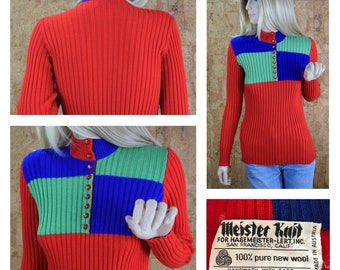 Vintage 1970's Women's MEISTER KNIT Ribbed Wool Red Blue & Green Checkered Colorblock HiPPiE MOD Ski Sweater Size M