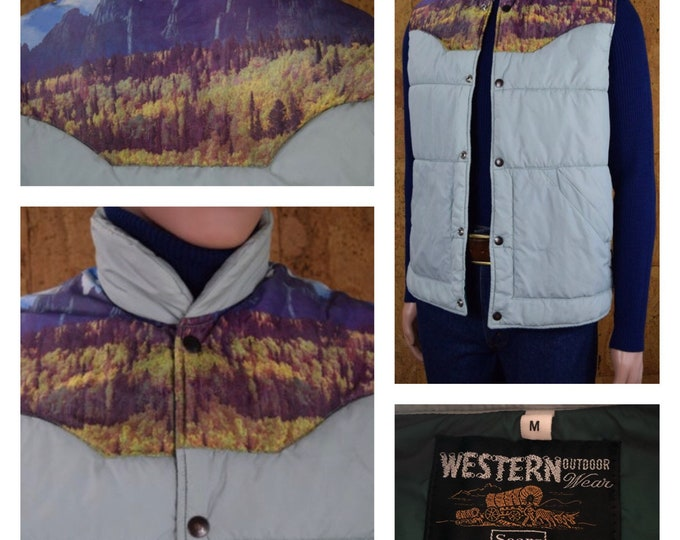 Featured listing image: Vintage Men's 1970's Western Mountain Photo Print Yoked Hippie Puffer Ski Vest Size M