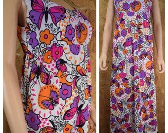 Vintage 1960's Psychedelic BUTTERFLY Flower Hippie Boho Festival Maxi Women's Sun Dress Size M