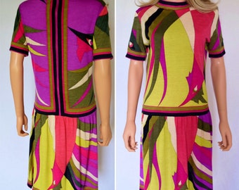 Vintage 1960's EMILIO PUCCI PsYcHeDeLiC NeOn oP aRt MoD KNIT Cashmere Couture Dress Size M 12 - Galli Pattern