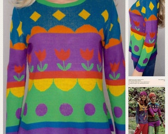 Vintage 1970's Women's Charlie's Girls Striped PoP ArT Tulip RAINBOW Knit HiPPiE Sweater Size M