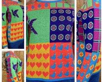 Vintage 1970's Women's Colorful Neon POP ART Heart Strawberry Peacock Flower Plaid Bird Hippie Sweater Size S