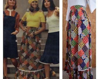 Vintage 1970's Sears Jr. Bazaar Paisley Patchwork Print Prairie Boho Hippie Peasant High Waisted Maxi Skirt Size M 28W