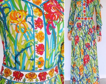 Vintage 1960's EMILIO PUCCI 2 Piece Blouse & Maxi Skirt HiPPiE BoHo Couture Outfit Dress Gown M 14