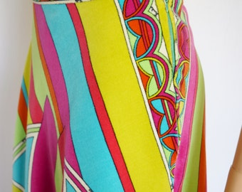 SOLD - reserved for R. - Vintage 1960's 70's EMILIO PUCCI PsYcHeDeLiC VeLveT NeOn OpTiC Couture HiPPIE MoD Skirt 14 M L