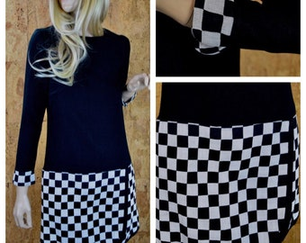 SOLD - Reserved For D - Vintage 1960's | 70's Young Edwardian Black & White CHECKERED MOD GoGo Women's MiNi Dress Size S / M 36