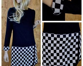 SOLD - Do Not Buy - Vintage 1960's | 70's Young Edwardian Black & White CHECKERED MOD GoGo Women's MiNi Dress Size S / M 36