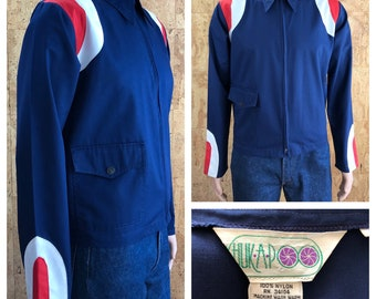 Vintage 1970's HUK-A-POO Men's MOD Space Age Red White & Blue Zippered Light Spring Jacket Size L 44