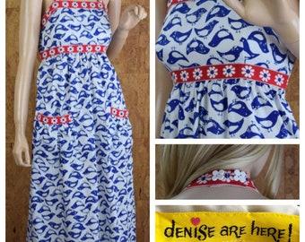 Vintage 1970's Women's Denise Are Here! Smocked Halter Blue Bird Daisy Sun Beach Hippie Boho Maxi Dress Size XS / S