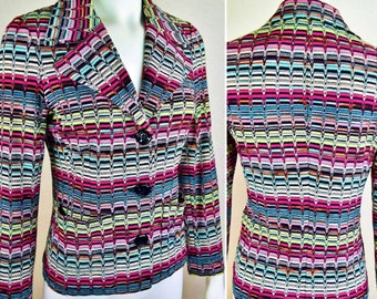 Vintage 1980's MISSONI ~ Orange Label Italy ~ Classic Couture MuLti-CoLoR Chevron Knit Jacket Blazer Size M EU 40