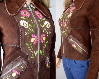 Vintage 1970's Women's CHAR Embroidered Flower Suede & Leather HiPPiE BoHo Western Rock n Roll Couture Jacket Size 8 XS