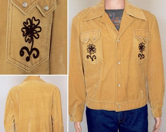 NOS Vintage 1960's 70's Men's Western Velvet Embroidered HiPPiE Rock Star Boho Festival Jacket Size XL