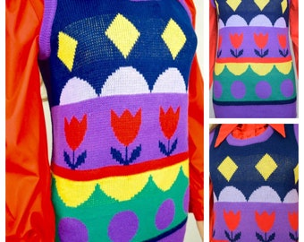 Vintage 1970's Women's Zado Striped PoP ArT Tulip RAINBOW Knit HiPPiE MOD Sweater Vest Size M