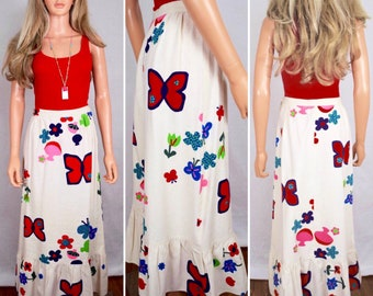 Vintage 1970's Summit Of Boston Mushroom Star Butterfly Flower Power Pop Art HiPPiE BoHo Maxi Skirt Size S 26W