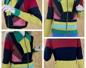 SOLD - RESERVED For C. - Vintage 1970's Women's Rainbow Sunset Striped Suede Leather & Knit Patchwork HiPPiE MOD Color Blocked Zippered Card