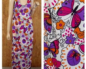 Vintage 1960's / 70's Psychedelic BUTTERFLY Print Hippie Boho Festival Maxi Women's Sun Dress Size S