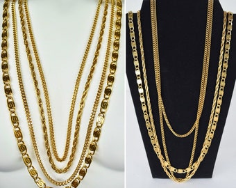 Vintage 1970's 80's Designer MONET Signed Necklace Multi Strand 4 Layer Chain S Link Rope Gold Tone Disco Statement  Boho Hippie Chic Runway