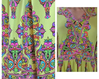 Vintage 1970's MAURICE by C. Rizza PsYcHeDeLiC MOD HiPPiE Couture COCKTAIL Party Dress Size M L