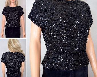 Vintage 1930's 40's Black Silk Sequined Beaded Formal Art Deco Flapper Fitted Blouse