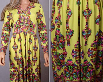 Vintage 1970's MAURICE PsYcHeDeLiC Rainbow Op Pop Art NeOn HiPPiE MOD Couture Dress Size M L