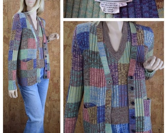 Vintage 1970's Women's Hukapoo Pastel Space Dyed PATCHWORK Twin Set Cardigan Sweater & Vest Size M