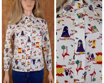 Vintage 1970's Ginger Tree Cartoon Mushroom Frog Snail Ladybug Animal Insect Novelty Hippie Mod Women's Shirt Blouse Top Size XS