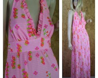Vintage 1960's High Tide - California Pink Neon Flower Swimsuit Beach Wear Cover Up Gauzy Hippie Boho Maxi Halter Sun Dress Size S