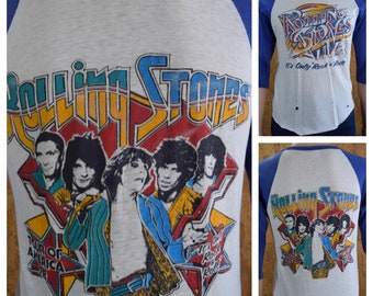 Vintage 1978 Rolling Stones It's Only Rock N Roll American Tour Original Concert T-Shirt unisex
