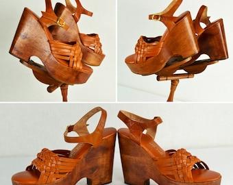 Vintage 1970's Women's Huge Wood Platform Leather Weave DiScO Boho Chic HiPPiE Shoes Sandals Size 8 8.5 ~ Super Clean