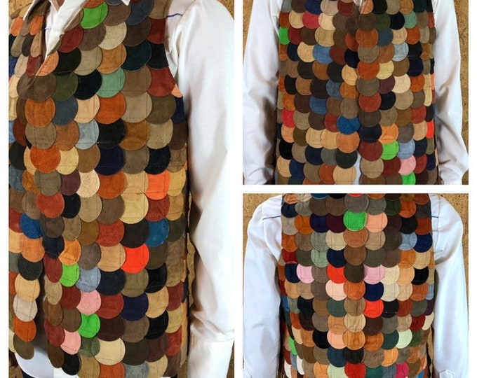 Featured listing image: Vintage 1970's Men's Suede Leather Multicolored Circle Patchwork Hippie Woodstock Vest Size M 42 44 - Rare