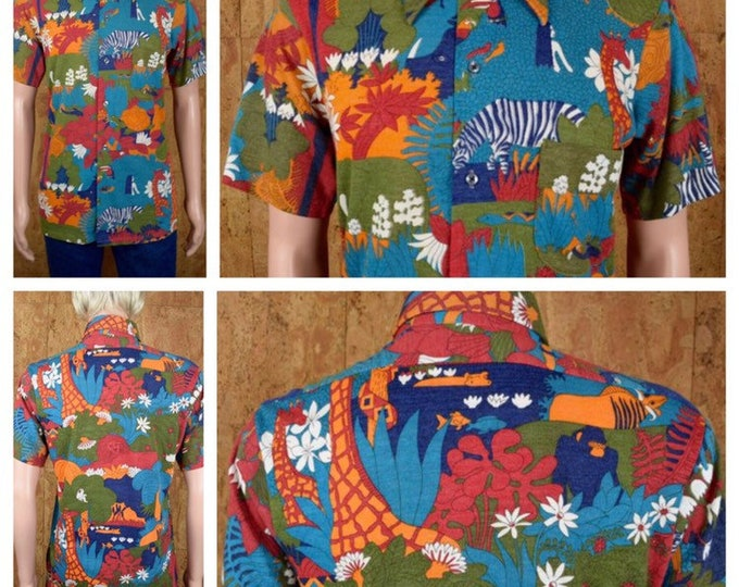 Featured listing image: Vintage 1970's Men's THE KNITMAN Robert Bruce Psychedelic Cartoon Jungle Animal Print Patterned Hawaiian Novelty Hippie MOD Shirt Size M