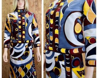 Vintage 1960's EMILIO PUCCI 2 Pc. Psychedelic Op Art MOD Velvet Outfit Skirt & Jacket Set Size 8