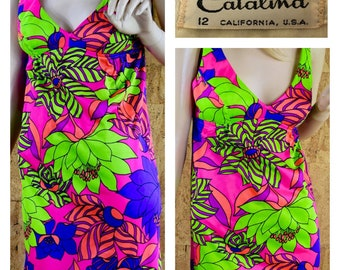 SOLD - Do Not Buy - Reserved for D. - Vintage 1960's CATALINA Psychedelic Flower MOD Hippie Hawaiian Summer Beach Swim Dress Size M 12