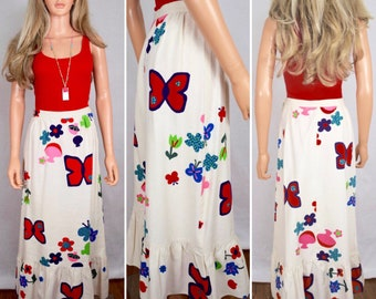 Vintage 1960's Mushroom Star Butterfly Flower Power Pop Art HiPPiE BoHo Maxi Skirt Size S 26W