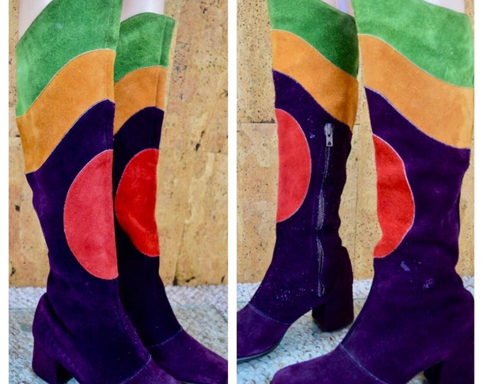 Featured listing image: Sz 7.5 - 8 Vintage 1960's Italian Suede MOD Space Age Multicolored Color Blocked Tall OTK Hippie Go-Go Womens Boots Shoes Size 7  1/2 - 8