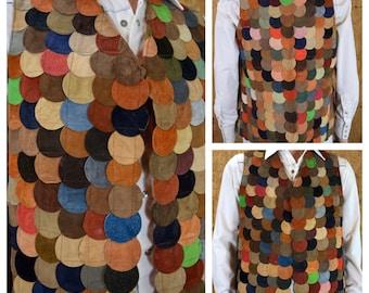 Vintage 1970's Men's Suede Leather Multicolored Circle Patchwork Hippie Woodstock Vest Size M 42 44 - Rare