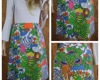 Vintage 1970's Women's Cartoon Zoo Jungle Animal Elephant Tiger Hippo Turtle Novelty HiPPiE Mod Pop Art Golf Wrap Skirt Size M
