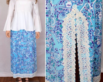 Vintage 1960's The LILLY PULITZER MONKEY Animal Crocheted Lace HiPPiE Maxi Skirt S M